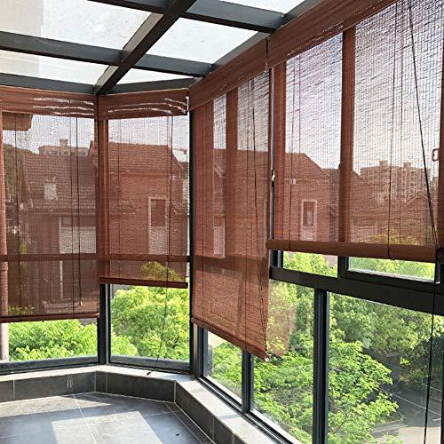 SHXF Rollo außen, Blackout Bambusrollo,Dekorieren Raffrollo, für Outdoor-Veranda Patio Pergola Balkon, 85 cm / 100 cm / 122 cm / 150 cm breit, Kastanienbraun
