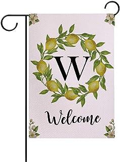 7ColorRoom Welcome Garden أعلام مزدوجة الجوانب لحديقة الأعلام رسالة W/Lemons إكليل مزرعة ساحة الديكور الخارجي حديقة صغيرة ...