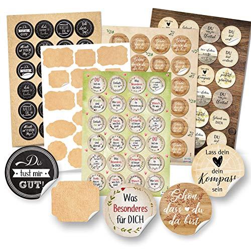 Logbuch-Verlag Sticker Set Sprüche + Blanko Aufkleber zum Beschriften + Schön dass du da bist - Vintage Motivationsaufkleber Geschenke
