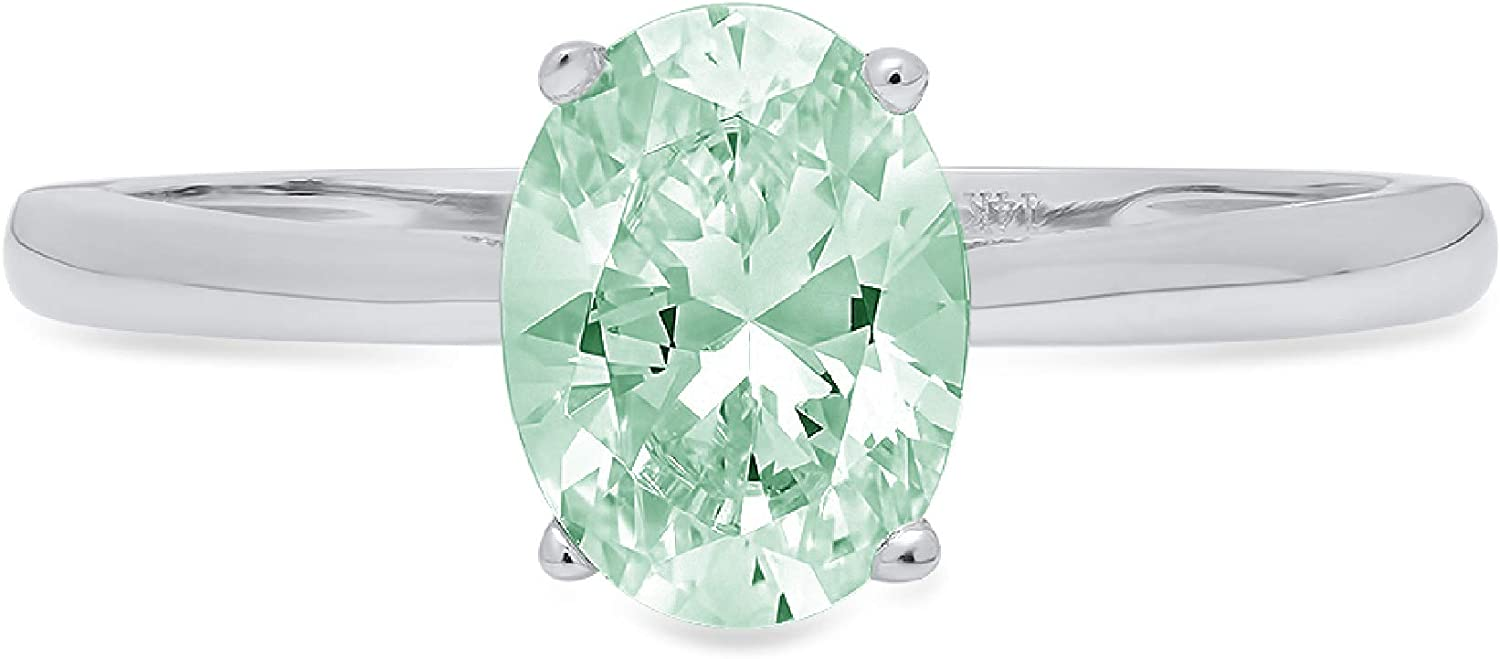 1.0 ct Brilliant Oval Cut Solitaire Davidsonite Mint Green Simulated Diamond CZ Ideal VVS1 D 4-Prong Engagement Wedding Bridal Promise Anniversary Ring Solid Real 14k White Gold for Women