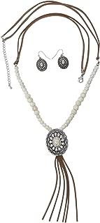 Long Faux Suede Tassel Fringe Western Style Necklace & Earrings Set - Assorted Styles