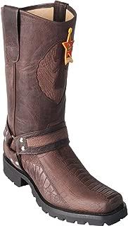 Original Brown Greasy Finish Ostrich Leg Leather Biker Toe Boot