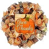 Give Thanks Wreath | Pumpkin Thanksgiving Deco Mesh Front Door Wreath; Brown Orange Burlap