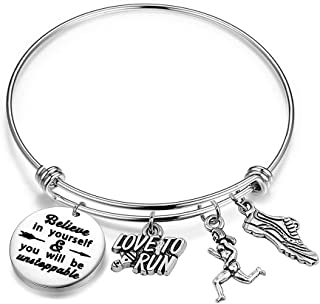 Runner Bracelet Marathon Running Gift Believe in Yourself and You Will be Unstoppable Runner Inspirational Jewelry (silver)