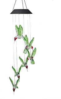 S SUNINESS LED Hummingbird Solar Wind Chimes Outdoor Changing Color Wind Mobile Spiral Spinner Portable Decorative Romantic Windbell Light for Patio Yard Garden Home Pathway (Hummingbird)