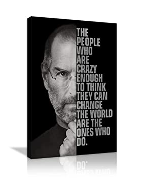 AMEMNY Steve The People Who are Crazy Enough Steve Jobs Canvas Painting Inspirational Entrepreneur Quotes Print Poster Artwork for Living Room Bedroom Office Framed Ready to Hang