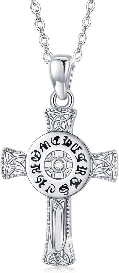 Kreuz Kette Damen Silber 925 Keltische Kreuz Kette Kreuz Anhänger Christliche Halskette für Damen/Herren