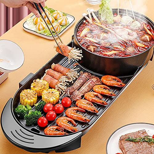 SEAAN Electric Hot Pot Grill Shabu Shabu Hot Pot with Divider Korean BBQ Grill, Non-Stick Pan,Separate Dual Temperature Control, 1-8 People Gathering, Smookless, 110V,220W