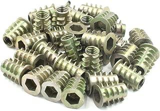 30 Pcs HONJIE M6x10 Threaded Insert Nuts Zinc Alloy Hex Socket M6 Internal Threads 10mm Length