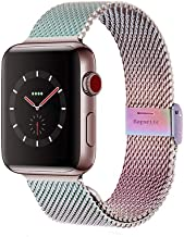 Compatible with Apple Watch Band 38MM 40MM 42MM 44MM, Stainless Steel Milanese Loop Band with Adjustable Magnetic Clasp for 2019 Watch Series 5/4/3/2/1,Colorful 44mm/42mm