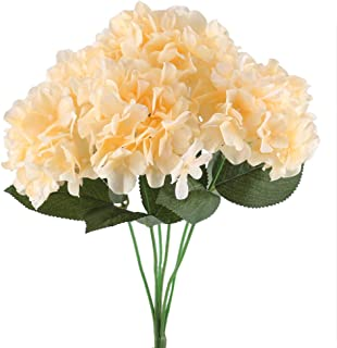 NAHUAA 16.5 inches Artificial Silk Hydrangea Flowers Arrangements Large Fake Floral Bundles Home Wedding Bouquet Table Centerpieces Party Decoration (Champagne)