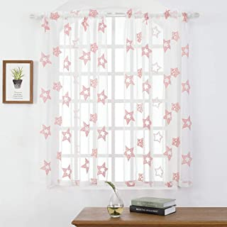Embroidery Sheer Curtains 63 Inches, Pink Star Rod Pocket Voile Drapes for Baby Girl Room, Living Room, Bedroom, Window Treatments Semi Crinkle Curtain Panels for Patio, Parlor, 2 Panels, 52