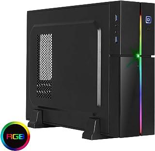 Aerocool Playa - Caja de PC Micro ATX (slim, RGB 13 modos, horizontal o vertical, USB 3.0, ventilador superior 8 cm) color negro