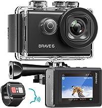 AKASO Brave 6 4K 20MP WiFi Action Camera Voice Control EIS Web Camera 100 feet Underwater Waterproof Camera Remote Control 6X Zoom Underwater Camcorder with 2 Batteries and Helmet Accessories Kit