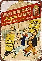 ウェスティングハウスランプ壁錫サイン金属ポスターレトロプラーク警告サインヴィンテージ鉄の絵画の装飾オフィスの寝室のリビングルームクラブのための面白いハンギングクラフト