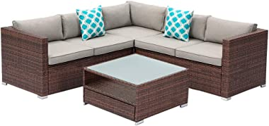 SUNBURY 4-Piece Outdoor Sectional Natural Wood Color Wicker Sofa Patio Furniture Set w 2 Blue White Plaid Pillows, Tempered G