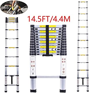 Telescoping Ladder Jason 14.5FT | 4.4M Max Load 330lbs Aluminum Ladder Extendable Ladder with EN131 and CE Standard [Step A +++](14.5FT/4.4M)