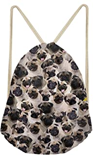Pug Dog Little Girls Drawstring Bagpack Women Small Cinch Gym Bags