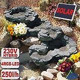 AMUR Solar GARTENBRUNNEN Bachlauf QUELLBACH II mit LED-Licht/Hybrid-System, 230V ZIERBRUNNEN VOGELBAD Wasserfall GARTENLEUCHTE TEICHPUMPE - SPRINGBRUNNEN WASSERSPIEL für Garten,...