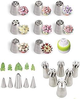Lot de 20 douilles russes pour glaçage - Outils de pâtisserie - Kit aérographe pour décoration de gâteaux, biscuits, desserts