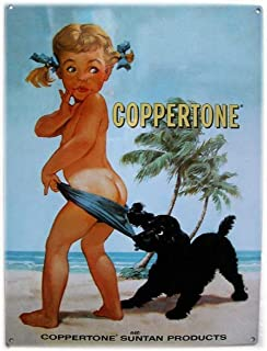 Anbiz Coppertone Girl Sun Tan Lotion Signs Vintage Look Reproduction Metal Tin Sign 8X12 Inches House Wall Sign