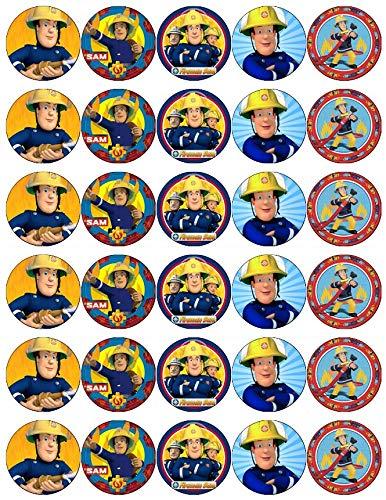 Cupcake-Topper Feuerwehrmann Sam, essbares Oblatenpapier, Feenmotiv, 30 Stück