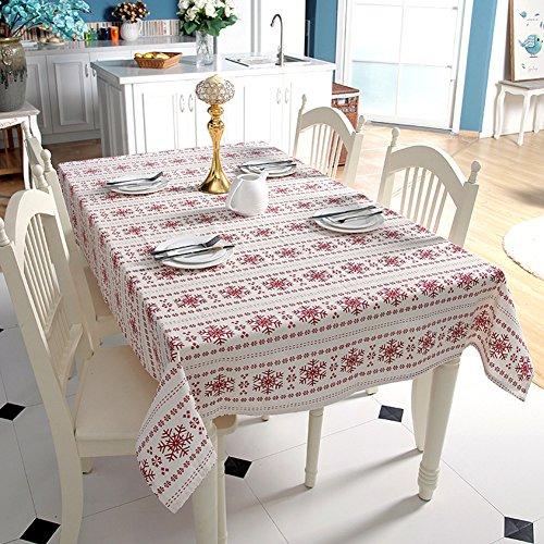 Mélange de polyester de coton Rouge et blanc Flocon de neige Nappe Rectangulaire, Tissu, 140x140cm