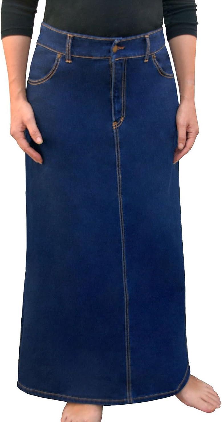 Kosher Casual Women's Modest Long A-Line Maxi Denim Skirt - No Slits