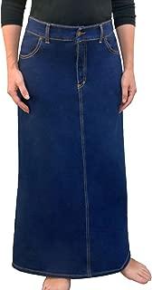 Women's Modest Long A-Line Maxi Denim Skirt - No Slits