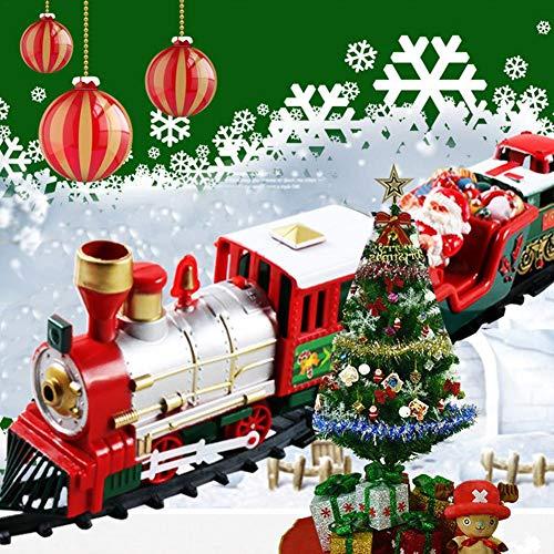 Tren de Navidad para Árbol con Soporte y Vagones, Rojo