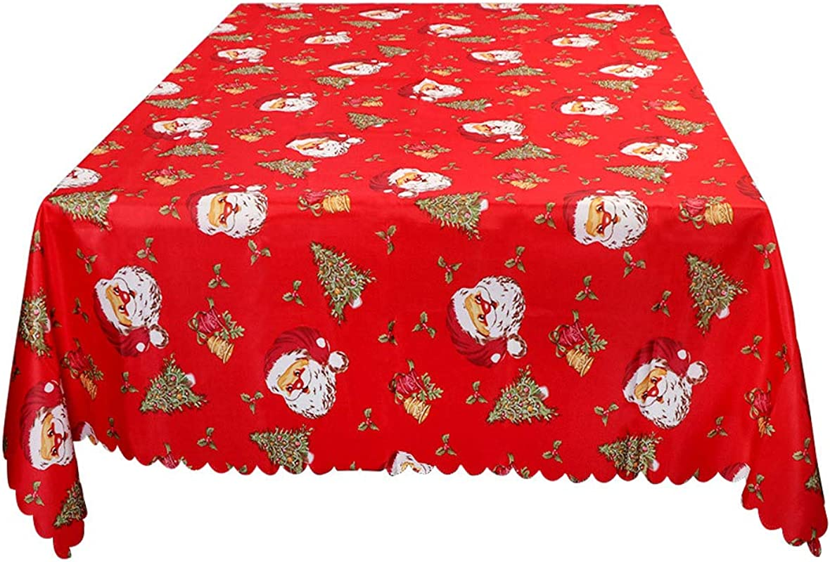 Wmbetter Christmas Santa Tablecloth Xmas Table Runner Linens Bell Engineered Printed 70 X 60inch Rectangular Perfect Christmas Decorations