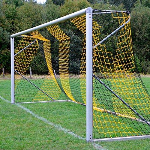 DONET Fußballtornetz 7,5 x 2,5 m Tiefe Oben 0,80 / unten 2,00 m, zweifarbig, PP 4 mm ø, schwarz/gelb