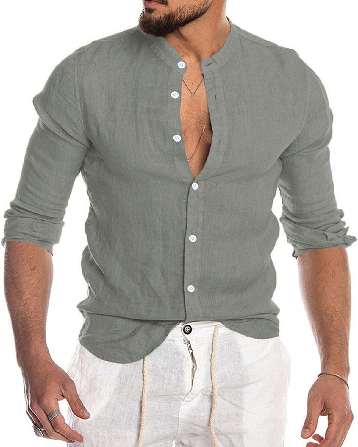 Beppter Big and Tall Shirts for Men Stand Collar Button Down Coats Soft Cozy Baggy Linen Outwear