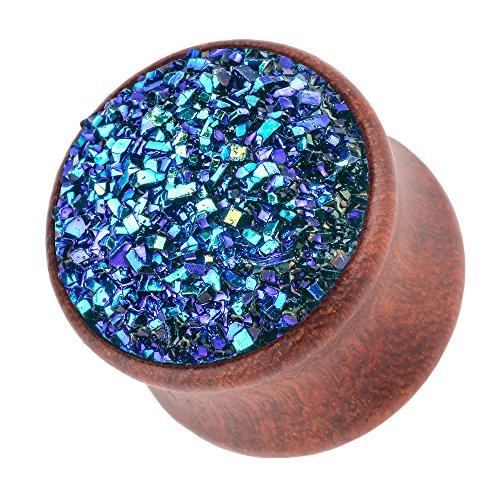 Piercingfaktor Ohr Plug Flesh Tunnel Piercing Ohrpiercing Holz Organic Braun mit Kristall Glitter 20mm Blau