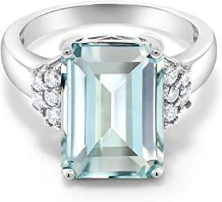 Gem Stone King Sterling Silver Sky Blue Simulated Aquamarine Women's Engagement Ring (6.94 Cttw Emerald Cut Available in size 5, 6, 7, 8, 9)