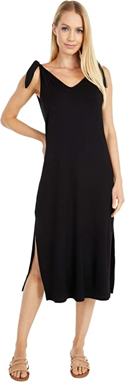 Everleigh - Rayon Jersey Midi Dress with Shoulder Ties and Side Slits