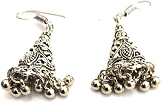Athizay Jhumki White Beaded Metal Large Drop And Dangle Earring For Women Fashion Jewellery