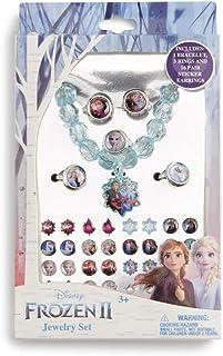 Disney Frozen 2 Elsa Anna Girls Jewelry Set; Includes 1 Bracelet, 5 Rings, 16 Pairs Sticker Earrings