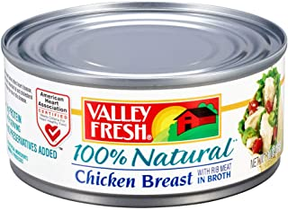 Valley Fresh 100% Natural Canned Chicken Breast with Rib Meat in Broth, 10 Ounce