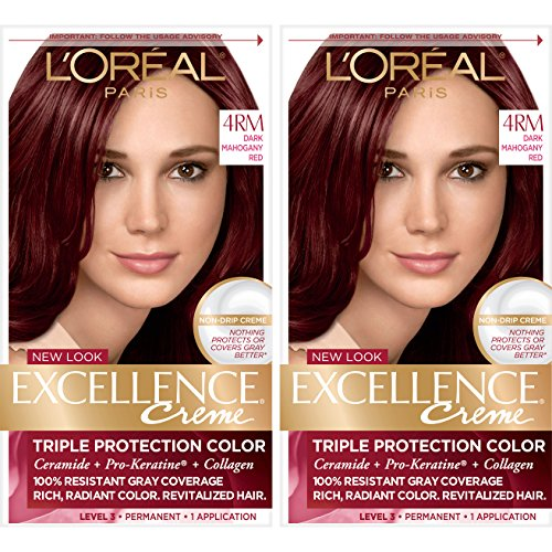 L'Oreal Paris Excellence Creme Permanent Hair Color, 4RM Dark Mahogany Red, 100% Gray Coverage Hair Dye, Pack of 2