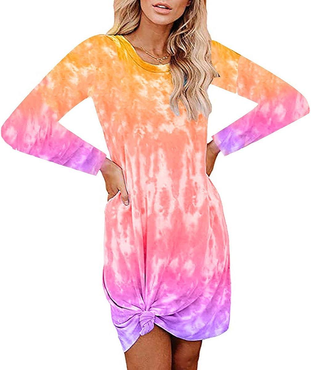 Women Tie sale Dye Dress Long Sleeve Shirt Sleepwear Top Nightgown Lo Dedication