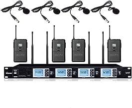 Lavalier Microphone System 4 Channel UHF Wireless Lapel Microphone Mics Karaoke System For school meeting speech