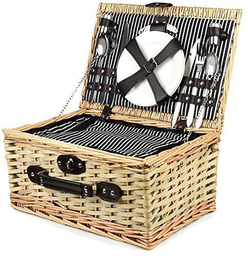 Bingo-Shop Picknickkorb für 2 Personen mit Kühlfach - Inklusive Bestecksets, Kühlfach, Korkenzieher, Weingläser und Keramikteller - 28 x 20 x 40 cm Picknickkoffer Picknickset Picknick Korb