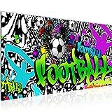 Bilder Fussball Graffiti Wandbild 100 x 40 cm Vlies -