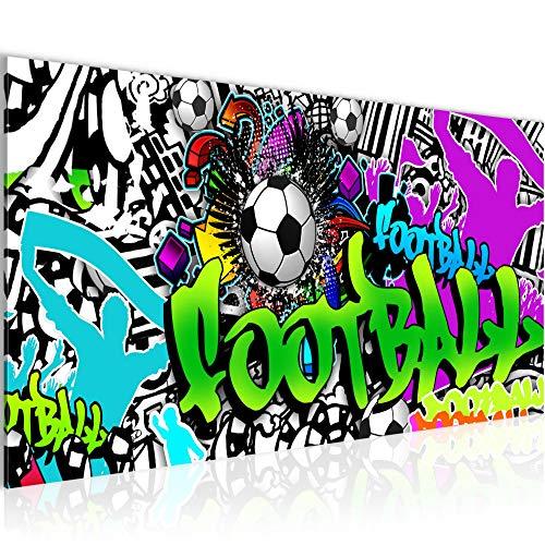 Bilder Fussball Graffiti Wandbild Vlies - Leinwand Bild XXL Format Wandbilder Wohnzimmer Wohnung Deko Kunstdrucke Bunt 1 Teilig - MADE IN GERMANY - Fertig zum Aufhängen 402612a