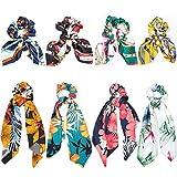 Elastici Capelli Donna, Comius 8 Pcs Scrunchies per Capelli, Cravatte Sciarpa con Motivo a Fiori per coda di Cavallo, 2 in 1 Bowknot Vintage Corde per Donne e Ragazze (B)