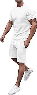 CHIYANG Short Sleeve Beach Two Piece Summer Mens Shorts and Shirts Set, Solid Color Short Pant Suit Man, Jogging Suits Pan...