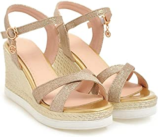 HMJZLywei Summer Sequin Large Size Shoes Imitation Straw Slope with Thick Bottom Simple Sandals (Color : Gold, Size : 38EUR)