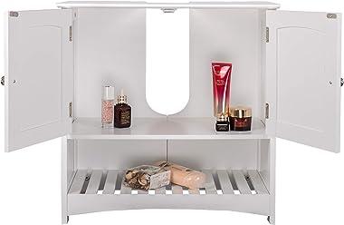 EUGAD Armario Bajo Lavabo Mueble para Debajo de Lavabo Mueble Lavabo de Baño Almacenamiento con 2 Puertas MDF 60 x 30 x 60 cm