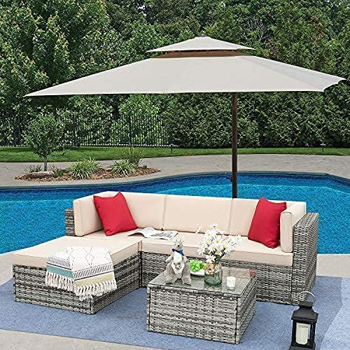 Tuoze 5 Pieces Patio Furniture Sectional Set Outdoor All Weather PE Rattan Wicker Lawn Conversation Sets Cushioned Sofa Set with Glass Coffee Table (Grey)